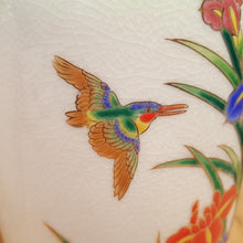 "Load Image into Gallery Viewer, Vintage SET of TWO ~ Japanese Ceramic 9"" VASE w/ Bird + Iris Flowers ~ MCI Japan"