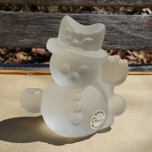 Vtg SNOWMAN CANDLE HOLDER Figurine ~ GOEBEL Kristallglas Frosted CRYSTAL Glass