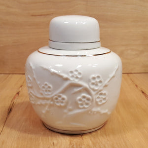Vintage White CHINESE GINGER JAR w/ Raised Relief FLOWERS & Tree ~ 4 Character Mark