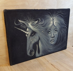 Vintage SIGNED UNICORN COMB OVER BLACK VELVET PAINTING Unicorn & Crying Woman