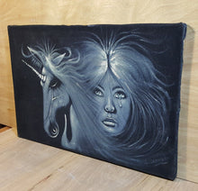 Load Image into Gallery Viewer, Vintage SIGNED UNICORN COMB OVER BLACK VELVET PAINTING Unicorn & Crying Woman