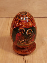 Load Image into Gallery Viewer, Vtg Lacquer WOOD EGG ~ NICHOLAS + HOLY FAMILY ~ Russia Ukraine Poland ORTHODOX