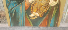 Load Image into Gallery Viewer, Vtg MADONNA + CHRIST CHILD Art Print on Board ~ Byzantine Icon Virgin Mary Collo