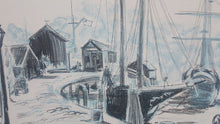 Load Image into Gallery Viewer, American BOAT HARBOR Wharf ~ Mid Century LITHOGRAPH Print ~ Ida Libby DENGROVE - Super Funky Stuff