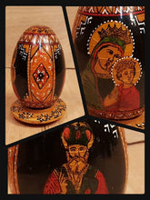 Load Image into Gallery Viewer, Vtg Lacquer WOOD EGG ~ St NICHOLAS + MADONNA ~ Russia Ukraine Poland ORTHODOX