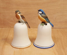 Load Image into Gallery Viewer, Vintage LOT of TWO ~ GOEBEL BELL ~ Porcelain Bisque w/ BLUE BIRD Figure