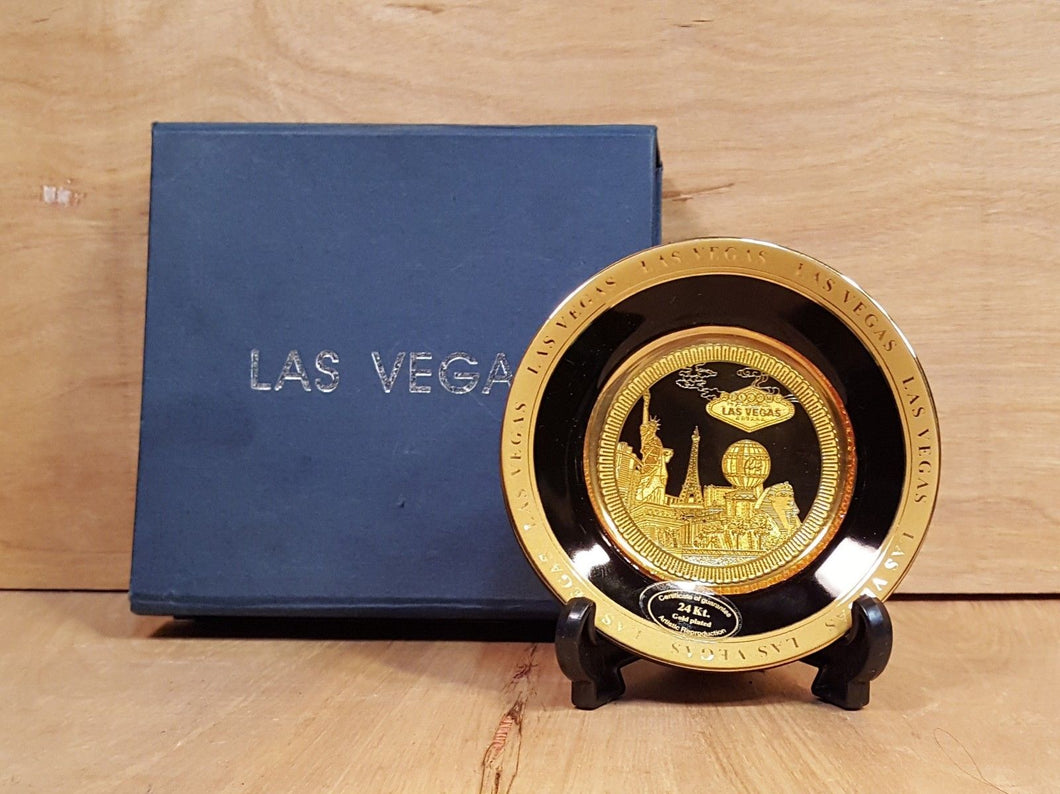 LAS VEGAS 24k GOLD Mini COLLECTOR PLATE in Original BOX Casino Skyline Souvenir