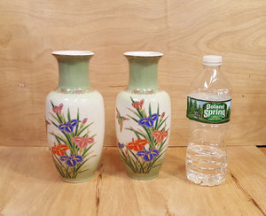 "Vintage SET of TWO ~ Japanese Ceramic 9"" VASE w/ Bird + Iris Flowers ~ MCI Japan"