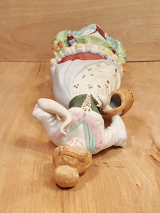 "Vtg Hand Painted 12"" MAIDEN FIGURINE ~ PORCELAIN BISQUE Japan Peasant Girl Woman"