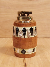 Load Image into Gallery Viewer, Vintage PENGUIN Japan TABLE LIGHTER ~ Wood w/ Inlaid Tile ~ MID CENTURY MODERN