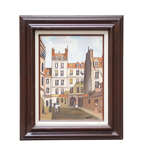 Vintage 19th Century STREET SCENE ~ SIGNED Oil on Canvas Cityscape PAINTING *