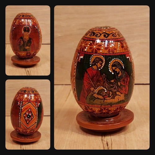 Vtg Lacquer WOOD EGG ~ NICHOLAS + HOLY FAMILY ~ Russia Ukraine Poland ORTHODOX