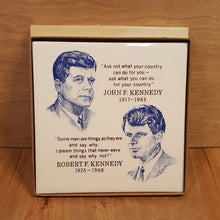 Load Image into Gallery Viewer, Vtg President KENNEDY TILE Plaque ~ Screencraft in BOX ~ JFK John RFK Robert