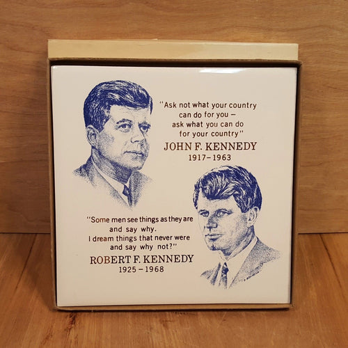 Vtg President KENNEDY TILE Plaque ~ Screencraft in BOX ~ JFK John RFK Robert