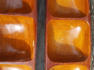 Vtg SET of 2 MID CENTURY MAHOGANY WOOD Serving TRAY 3 Compartment Appetizer Dish