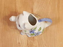 Load Image into Gallery Viewer, Vintage PORCELAIN Kitty CAT CREAMER ~ White with Blue IRIS FLOWERS