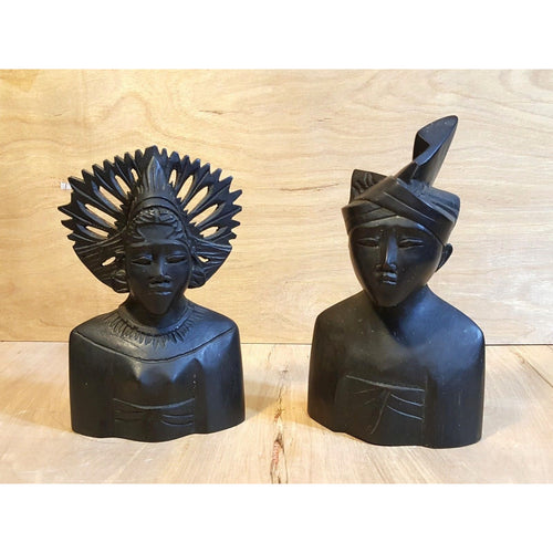 Vintage BALI KLUNGKUNG ~ Set of 2 WOOD SCULPTURE Bust MAN and WOMAN w/ HEADDRESS