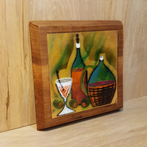 Vtg WINE Bottles COPPER ENAMEL on TEAK WALL HANGING Trivet ~ Bovano Cheshire CT