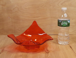 Vintage Retro ART GLASS ORANGE HANDKERCHIEF BOWL ~ Candy Nut Console Dish