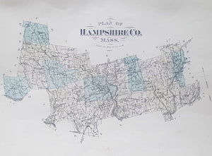 ANTIQUE HAMPSHIRE COUNTY MASSACHUSETTS MAP - Pre Quabbin Reservoir