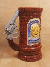 "Load Image into Gallery Viewer, Vintage 10"" BEER TANKARD Stein ~ Gun PISTOL HANDLE ~ CT State POLICE Officer"