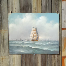 Load Image into Gallery Viewer, Antique SIGNED Tall SHIP Oil PASTEL ~ Edward T GIBBS (1863-1934) Massachusetts