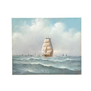 Antique SIGNED Tall SHIP Oil PASTEL ~ Edward T GIBBS (1863-1934) Massachusetts