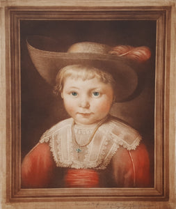 SIGNED SAMUEL ARLENT EDWARDS MEZZOTINT Art Print PORTRAIT Boy after Jacob Cuyp