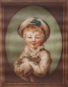 SIGNED SAMUEL ARLENT EDWARDS MEZZOTINT Art Print PORTRAIT of Boy after Fragonard