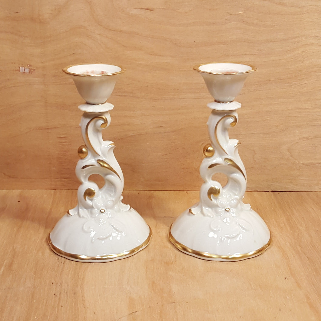 Vintage SET of 2 HACKEFORS CANDLE HOLDERS White w/ Gold Trim Sweden Porcelain *