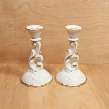 Load Image into Gallery Viewer, Vintage SET of 2 HACKEFORS CANDLE HOLDERS White w/ Gold Trim Sweden Porcelain *