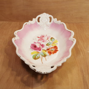 KPM Krister SERVING TRAY w/ PINK ROSES ~ Large Oval Handled Platter ~ Germany *