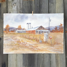 Load Image into Gallery Viewer, Vintage SIGNED Watercolor PAINTING ~ VERMONT FARM Landscape ~ Sutherland