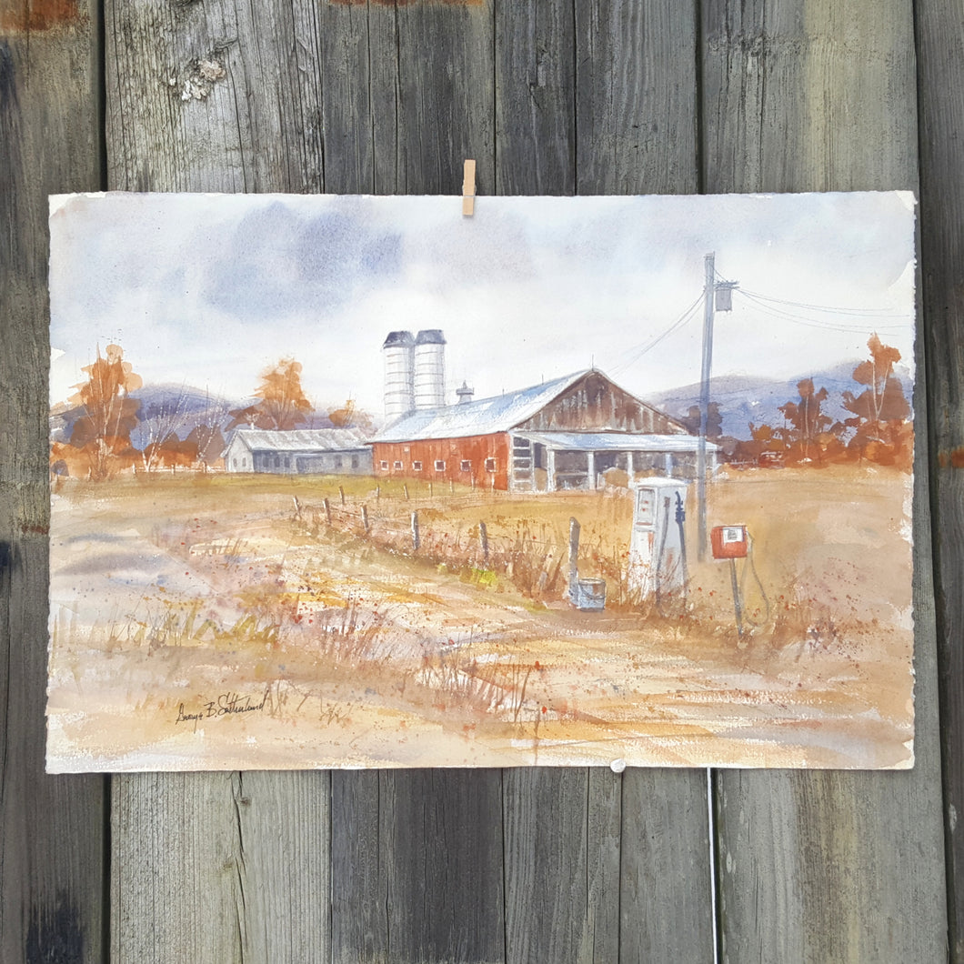 Vintage SIGNED Watercolor PAINTING ~ VERMONT FARM Landscape ~ Sutherland