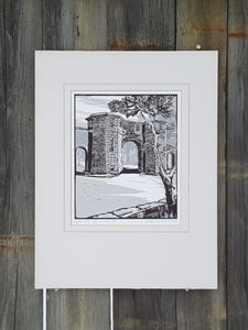 SIGNED WOODBLOCK Art PRINT ~ West Port ST ANDREWS SCOTLAND ~ Magnus Dawson *