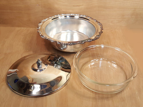 SILVERPLATE Covered CASSEROLE Bowl w/ Glass Liner ~ ASCOT Sheffield by COMMUNITY