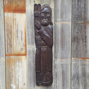"Vintage WOOD CARVING 26"" Wall Hanging ~ MOSES w/ 10 Commandments"
