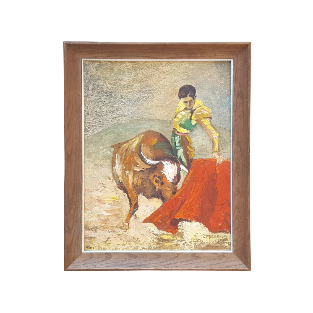 Mid Century 1966 OIL PAINTING ~ MATADOR with BULL ~ Signed Framed 22x28