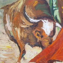 Load Image into Gallery Viewer, Mid Century 1966 OIL PAINTING ~ MATADOR with BULL ~ Signed Framed 22x28