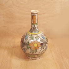 "Load Image into Gallery Viewer, Antique Iran PERSIAN Qajar POTTERY 7"" Bud VASE Crackle Glaze Polychrome FLOWERS"