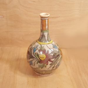"Antique Iran PERSIAN Qajar POTTERY 7"" Bud VASE Crackle Glaze Polychrome FLOWERS"