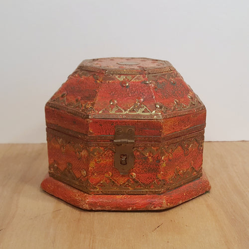 Vintage OCTAGONAL WOOD TRINKET BOX w/ Brass Trim ~ Handpainted Orange India