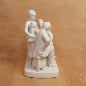 Vintage REED & BARTON ~ GROUP FIGURINE CHECKERS ~ White Porcelain Bisque