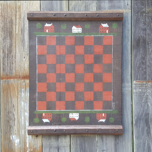 Vintage CHECKERS CHESS BOARD WALL HANGING ~ Primitive Folk Art Signed 15x20