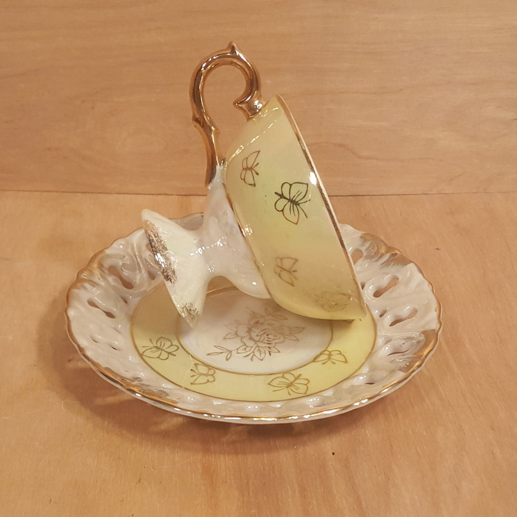 Vintage Japan TEACUP + SAUCER Set ~ Yellow Reticulated Lusterware Butterfly Rose