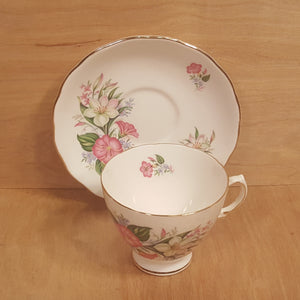 Vintage COLCLOUGH TEACUP and SAUCER Set ~ White Pink Flowers