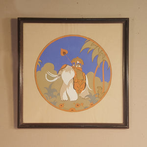 Vintage ART DECO Pochoir Art Print of Indian ELEPHANT ~ Signed EDOUARD HALOUZE