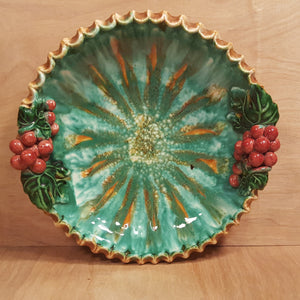 "Vintage ST PETER GRAZ AUSTRIA 10"" Ceramic FRUIT BOWL Grape and Leaf"