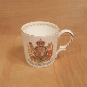 Vintage AYNSLEY Bone China MUG ~ QUEEN MOTHER 80th Birthday