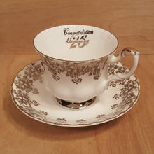 Load Image into Gallery Viewer, Vintage SILVER 25th ANNIVERSARY TEACUP + SAUCER Set ~ ROYAL ALBERT England